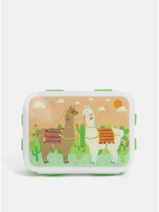 Zelený desiatový box s motívom lám Sass&Belle Mandala Elephant