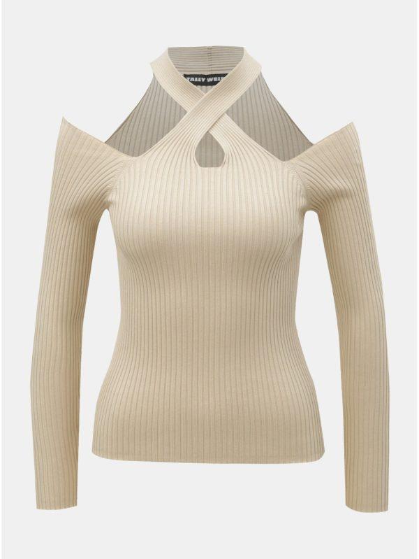 Béžové rebrované tričko s odhalenými ramenami TALLY WEiJL Rahana