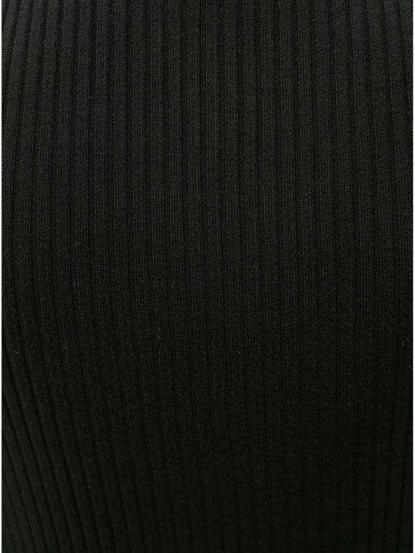 Čierne rebrované tričko s odhalenými ramenami TALLY WEiJL Rahana