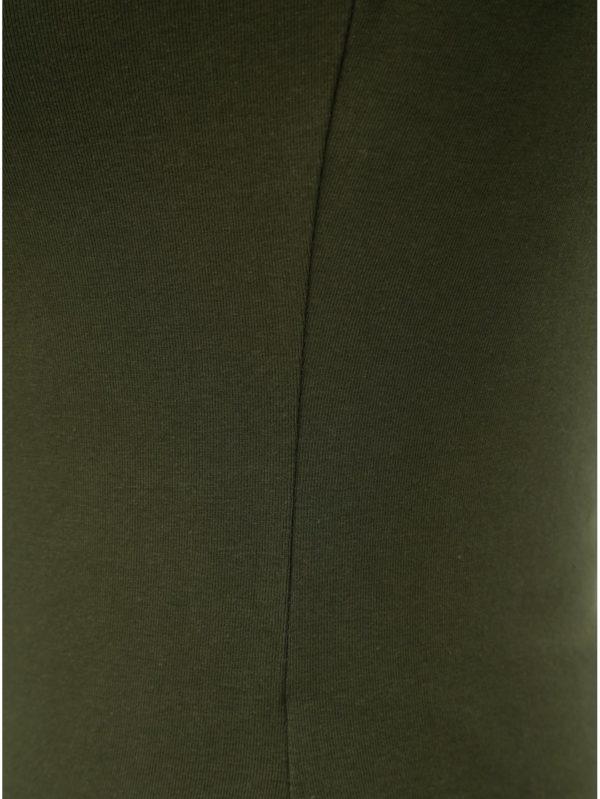 Kaki tričko s pásikmi v dekolte TALLY WEiJL Libro