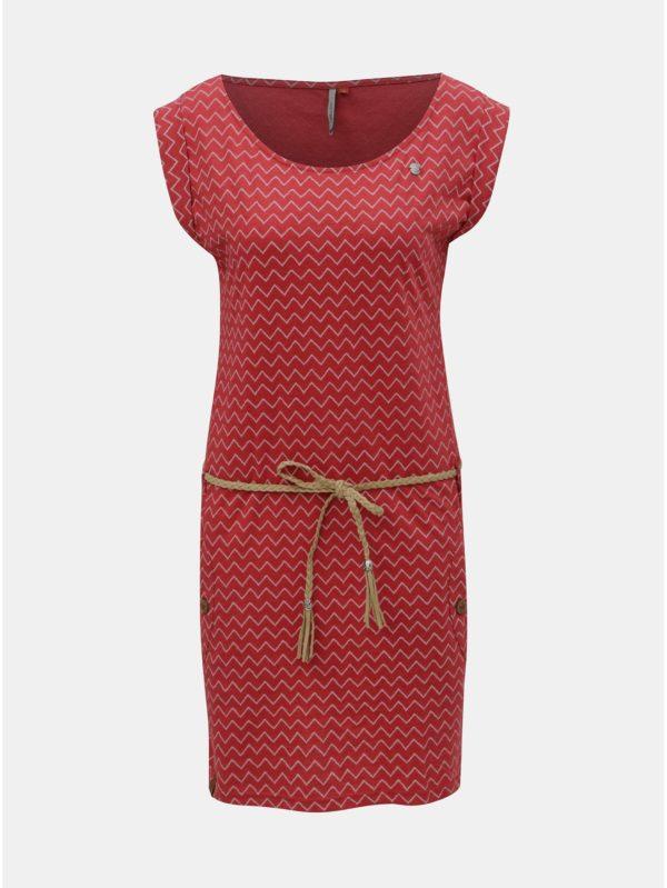 Červené vzorované šaty s vreckami Ragwear Tag