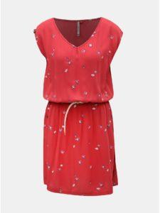 Červené šaty s motívom a vreckami Ragwear Carolina