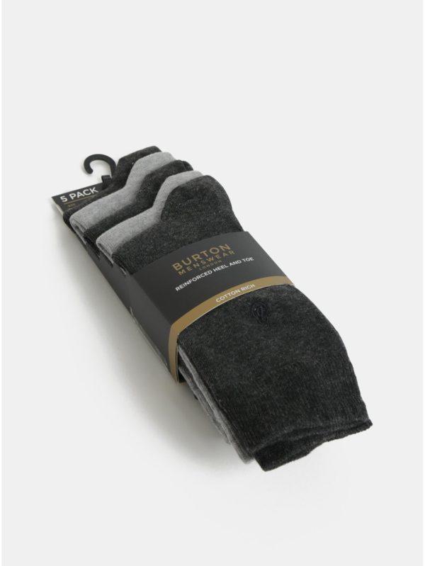 Balenie piatich párov sivých ponožiek Burton Menswear London