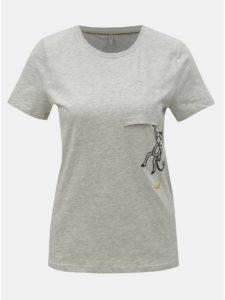 Svetlosivé melírované tričko s výšivkou ONLY Polly