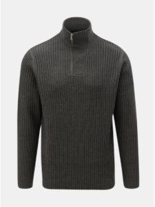 Tmavosivý sveter so zipsom Burton Menswear London