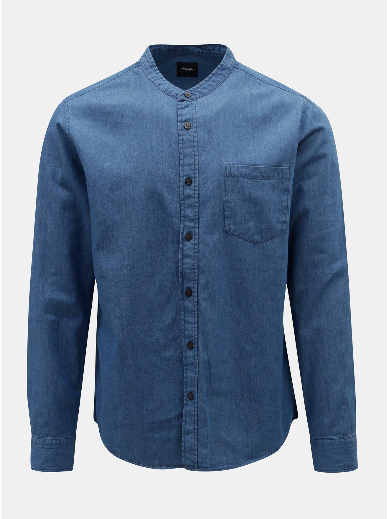 fec52b3f1b02 Modrá rifľová košeľa Burton Menswear London