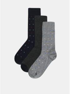 Balenie troch párov ponožiek v sivej a modrej farbe Burton Menswear London
