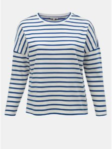 Krémové pruhované tričko ONLY CARMAKOMA Monako