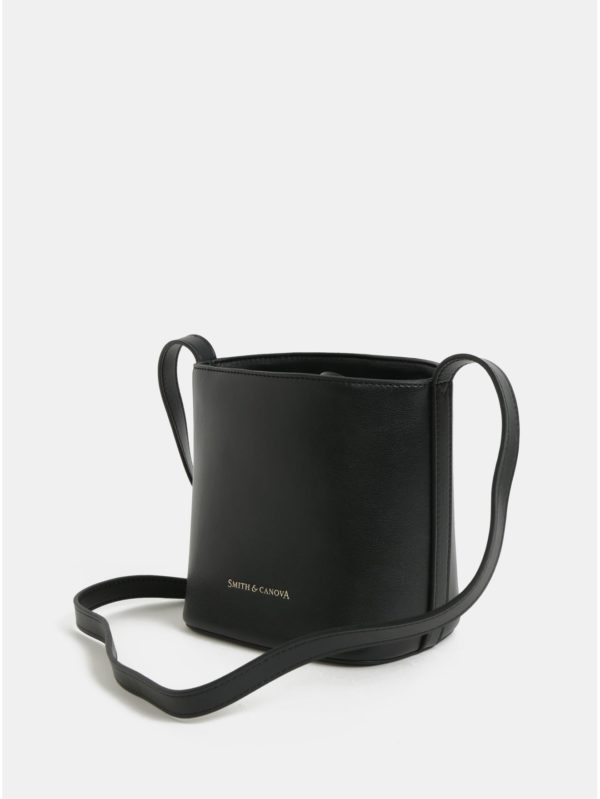 Čierna kožená vaková crossbody kabelka Smith & Canova Loe
