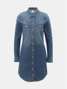Modré rifľové košeľové šaty ONLY Wendy