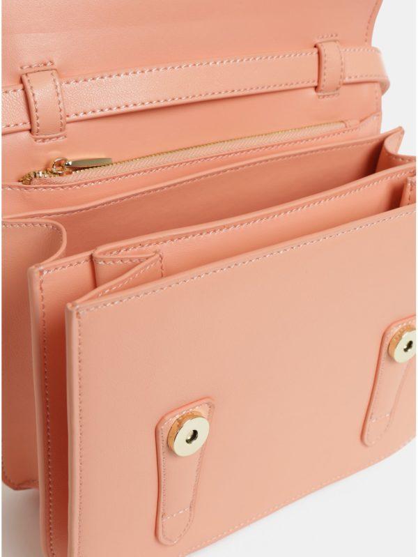 Ružová kožená crossbody kabelka Smith & Canova Cacey
