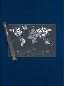 Čierna stieracia mapa Luckies Typogeography