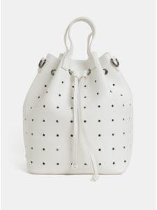 Biela dierovaná vaková kabelka/batoh Claudia Canova Danay