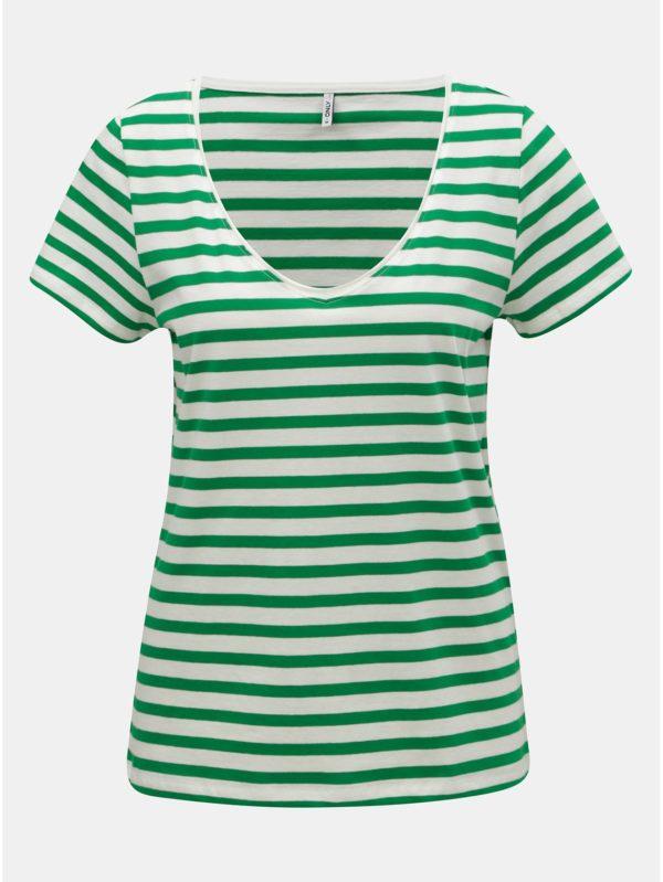 Bielo–zelené pruhované basic tričko ONLY Brave