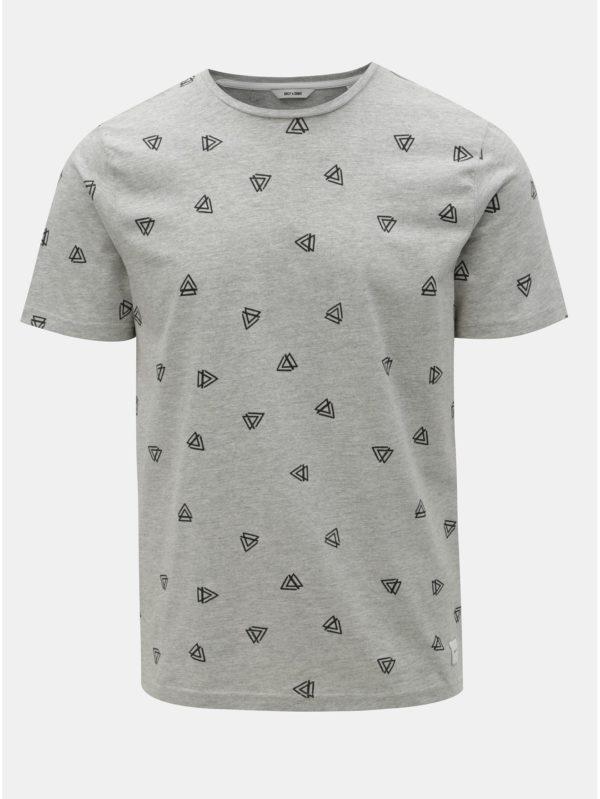 Sivé melírované tričko s potlačou ONLY & SONS Epus