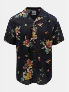 Tmavomodrá kvetovaná regular fit košeľa ONLY & SONS Thomas