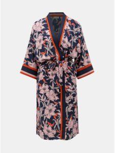 Tmavomodré kvetované kimono Jacqueline de Yong Adira