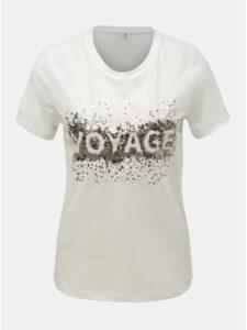 Krémové tričko s prímesou ľanu ONLY Lina
