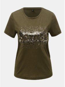 Kaki tričko s prímesou ľanu ONLY Lina