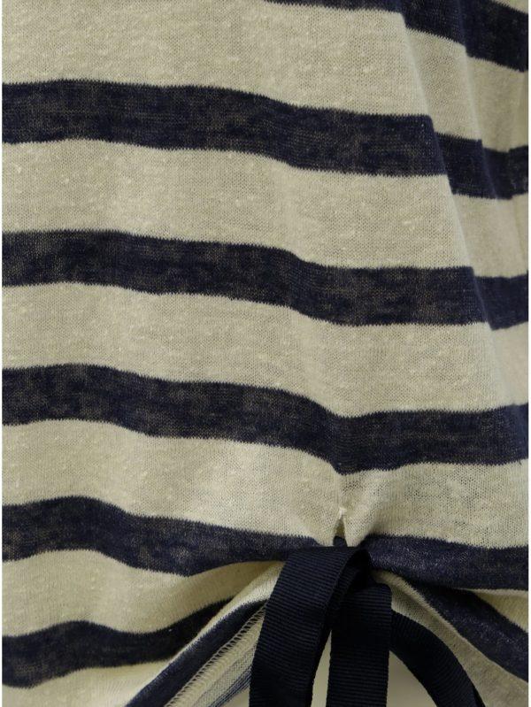 Modro–béžové pruhované tričko ONLY Rill