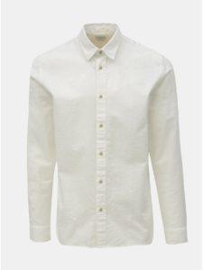 Biela regular fit košeľa s prímesou ľanu Selected Homme Michael