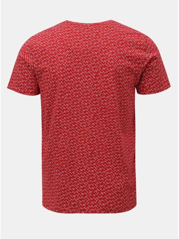 Červené vzorované tričko Selected Homme Kristian