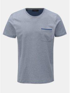 Modré melírované tričko s náprsným vreckom Selected Homme Poe