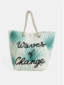 Krémová papierová plážová taška s tropickým vzorom Roxy Waves of Change