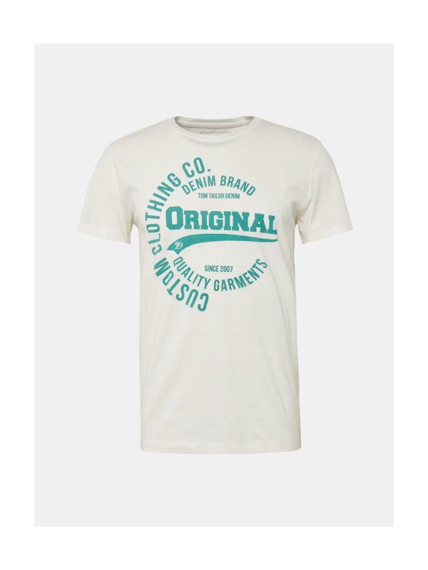Krémové pánske tričko s potlačou Tom Tailor Denim