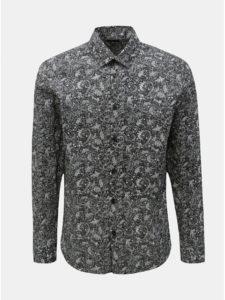 Tmavosivé vzorovaná slim fit košeľa Selected Homme Neo