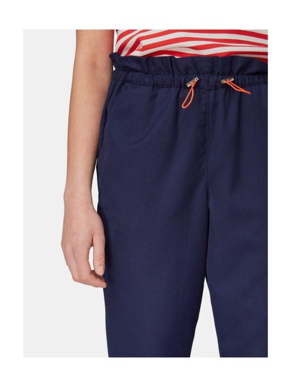 Tmavomodré dámske nohavice s vysokým pásom Tom Tailor Denim