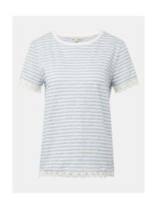 Modro–biele dámske pruhované tričko s čipkou Tom Tailor Denim