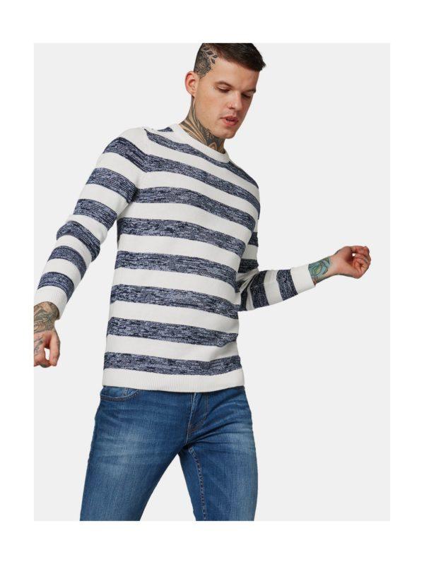 Modro–biely pánsky pruhovaný sveter Tom Tailor Denim