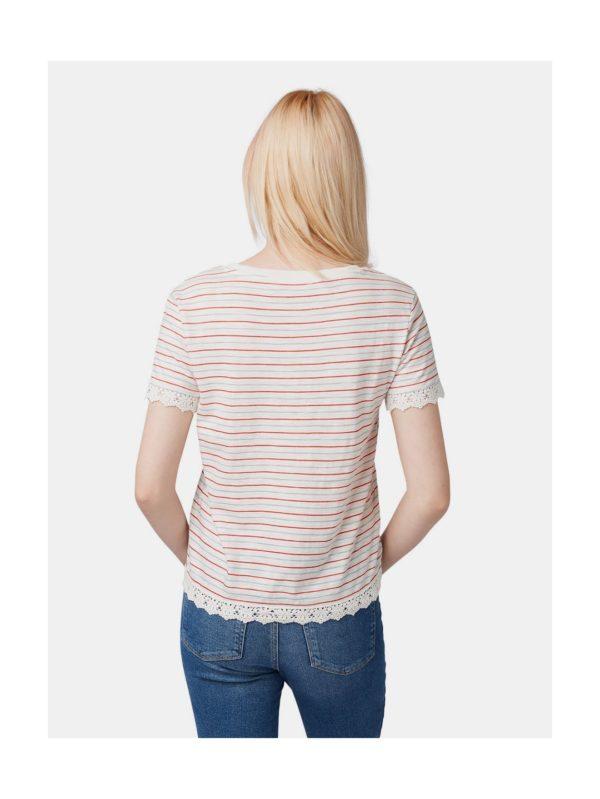 Biele dámske pruhované tričko s čipkou Tom Tailor Denim