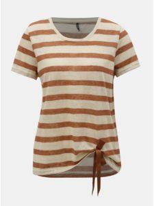 Hnedo–béžové pruhované tričko ONLY Rill