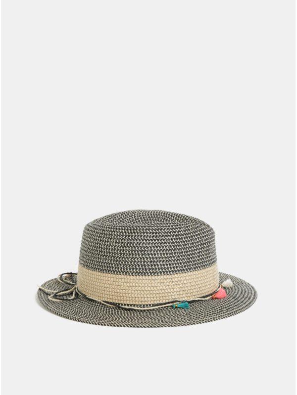 Čierno–béžový klobúk Pieces Bevi