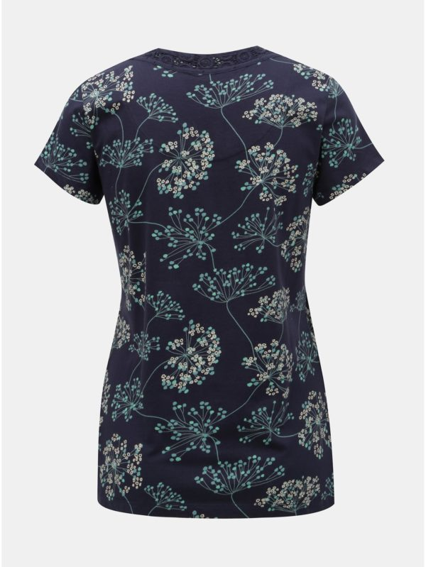 Tmavomodré kvetované tričko Brakeburn Cow Parsley