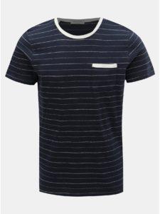 Tmavomodré pruhované tričko s prímesou ľanu Selected Homme Francis