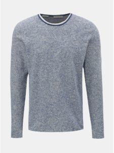 Modrý ľanový melírovaný sveter Selected Homme New clash