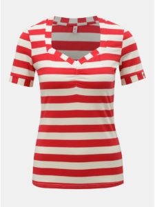 Bielo–červené pruhované tričko Blutsgeschwister Logo Stripe
