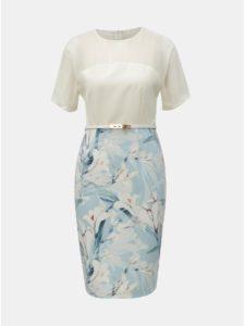 Bielo–modré kvetované puzdrové šaty Paper Dolls