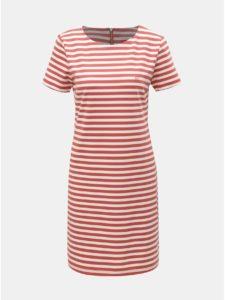 Bielo–červené pruhované šaty Cross Jeans