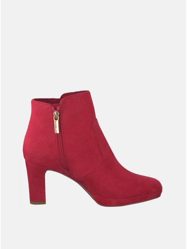 5c4b3414d3eb Červené členkové topánky v semišovej úprave Tamaris Maura