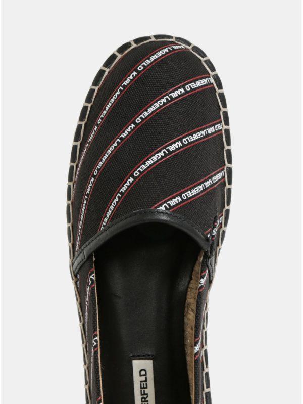 Čierne espadrilky s koženými detailmi KARL LAGERFELD Kamini