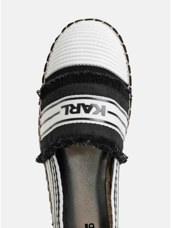 Čierno–biele espadrilky KARL LAGERFELD Kamini