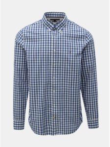Modrá pánska kockovaná slim fit košeľa Tommy Hilfiger