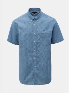 Modrá pánska vzorovaná regular fit košeľa s prímesou ľanu Tommy Hilfiger
