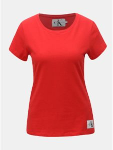 Červené dámske tričko s nášivkou Calvin Klein Jeans