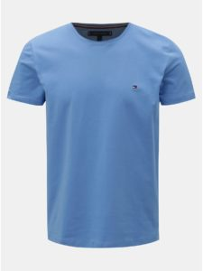 Modré pánske slim fit basic tričko Tommy Hilfiger