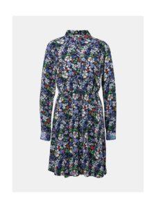 Tmavomodré kvetované košeľové šaty Tom Tailor Denim